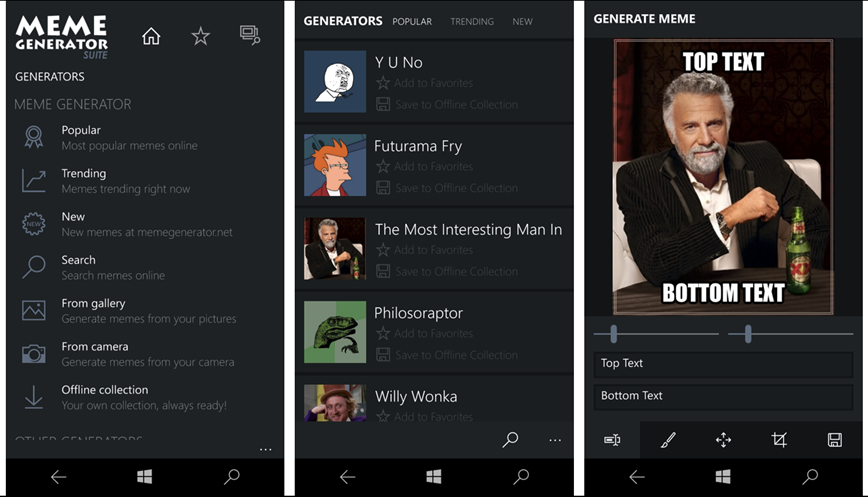 Meme Generator Suite app upgraded for Windows 10 Mobile